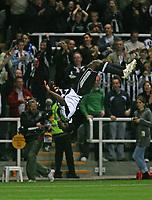 Photo: Andrew Unwin.<br /> Newcastle United v Levadia Tallinn. UEFA Cup. 28/09/2006.<br /> Newcastle's Obafemi Martins celebrates his second goal.