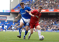 Photo: Ashley Pickering.<br />Ipswich Town v Southend United. Coca Cola Championship. 10/03/2007.<br />Simon Francis of Southend (R) shields the ball from Alan Lee of Ipswich
