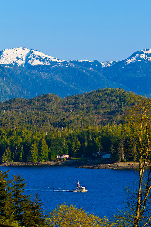 Overview of Ketchikan (and the Tongass Narrows), Southeast Alaska USA