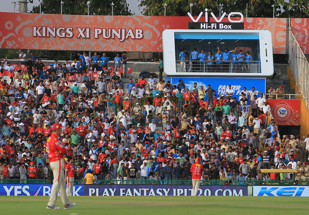 VIVO fan box during match 10 of the Vivo Indian Premier League ( IPL ) 2016 between the Kings XI Punjab and the Rising Pune Supergiants held at the IS Bindra Stadium, Mohali, India on the 17th April 2016<br /> <br /> Photo by Arjun Singh / IPL/ SPORTZPICS