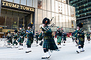 Marching in front of Trump Tower during the St. Patrick's Day Parade in New York City