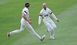 Jack Leach celebrates the wicket of Daryl Mitchell. - Photo mandatory by-line: Alex Davidson/JMP - Mobile: 07966 386802 - 22/08/15 - SPORT - CRICKET - LV County Championship Division One - Day Two - Somerset v Worcestershire - The County Ground, Taunton, England.