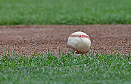 A general view of a baseball on the field prior to game two of the College World Series Championship Series between the Oregon State Beavers and the Arkansas Razorbacks on at TD Ameritrade Park in Omaha, Nebraska.