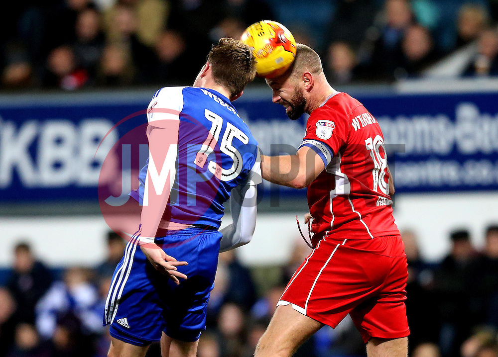 Aaron Wilbraham of Bristol City and Adam Webster of Ipswich Town challenge for a header - Mandatory by-line: Robbie Stephenson/JMP - 30/12/2016 - FOOTBALL - Portman Road - Ipswich, England - Ipswich Town v Bristol City - Sky Bet Championship