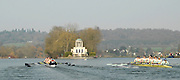 Henley, GREAT BRITAIN, OUWBC vs CUWBC,The Newton Women's Boat Race.  OUWBC [left] lead CUWBC as they move down the Henley Reach, followed by Umpire's Launch. 2011 Henley Boat Races, Temple Island, Henley Reach, River Thames, England  Sunday  27/03/2011.  [Mandatory Credit, Karon Phillips /Intersport-images]..Crews: .CUWBC: .Bow Elizabeth POLGREEN ,Izzi BOANAS-EVANS , Anna KENDRICK, Ruth BLACKSHAW, Tamara HORNICK, Pernille THUESEN, Fay SANDFORD, Stroke Cath WHEELER, Cox Kate RICHARDS..OUWBC:.Bow Nicole SCHEUMANN, Canstance SPOOR, Harriet KEANE, Natalie REDGRAVE, Eugenia GOSSEN, Sonia BRACEGIRDLE, Eleanor PIGGOTT, Stroke Brianna STUBBS, Cox Nathaniel UPTON..