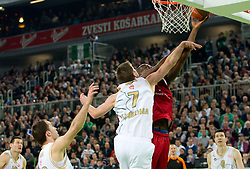 Vladimer Boisa of Olimpija vs Ali Traore of Lottomatica during basketball match between KK Union Olimpija (SLO) and Lottomatica Roma (ITA) in Group F of Top 16 Turkish Airlines Euroleague, on February 23, 2011 in Arena Stozice, Ljubljana, Slovenia.  (Photo By Vid Ponikvar / Sportida.com)