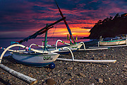 Fishing boats with outriggers at dawn, Bali, Indonesia