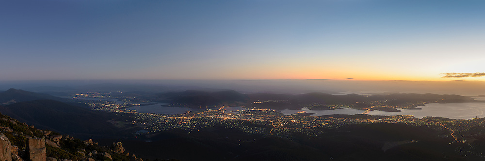 View over Hobart from Mount Wellington