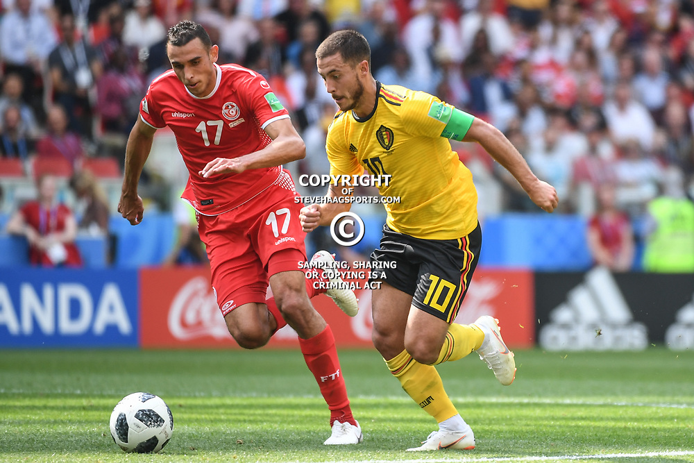 Ellyes Skjiri of Tunisia and Eden Hazard of Belgium during the FIFA World Cup Group G match between Belgium and Tunisia at Spartak Stadium on June 23, 2018 in Moscow, Russia. (Photo by Anthony Dibon/Icon Sport)