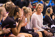 Sue Hawkins coach for the Tactix on the bench during the ANZ Championship Netball game between the Mainland Tactix v Adelaide Thunderbirds at Horncastle Arena in Christchurch. 20th April 2015 Photo: Joseph Johnson/www.photosport.co.nz
