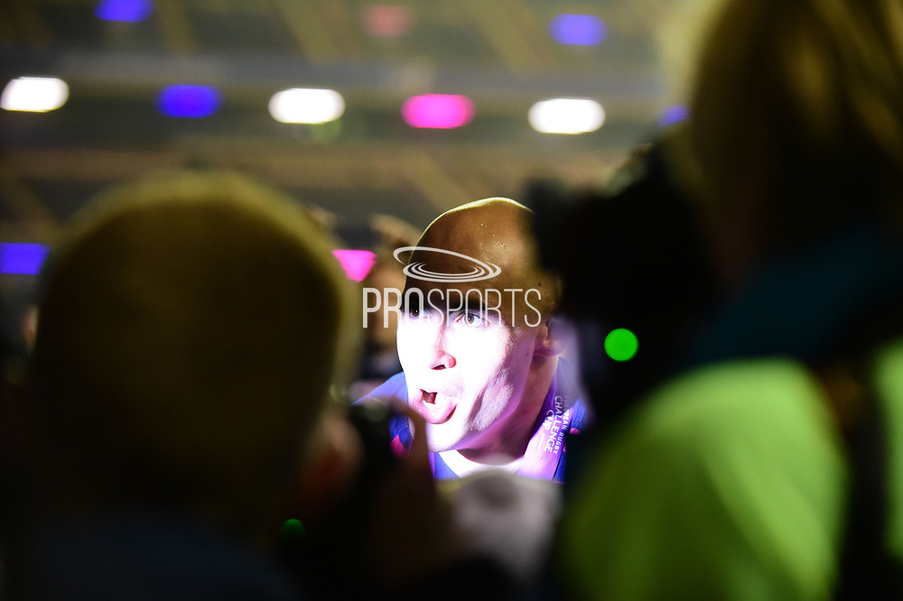 Sergio Parisse is mobbed by photographers after winning the European Rugby Challenge Cup match between Gloucester Rugby and Stade Francais at BT Murrayfield, Edinburgh, Scotland on 12 May 2017. Photo by Kevin Murray.