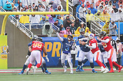 Jan 27, 2019; Orlando, FL, USA; NFC quarterback Russell Wilson of the Seattle Seahawks (3) throws a pass in the NFL Pro Bowl football game at Camping World Stadium.  The AFC beat the NFC 26-7. (Steve Jacobson/Image of Sport)