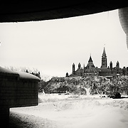 Canadian House of Parliament Ottawa from the Museum of Civilization, Gatineau Quebec. <br />
