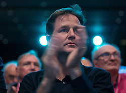 © Licensed to London News Pictures . 06/10/2014 . Glasgow , UK . NICK CLEGG in the front row of the audience applauds a presentation on Same Sex Marriage . The Liberal Democrat Party Conference 2014 at the Scottish Exhibition and Conference Centre in Glasgow . Photo credit : Joel Goodman/LNP