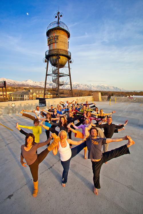 Jennifer Ellen-Mueller, Matt Newman and Scott Moore -  co-owners of Prana Yoga Trolley Square - and class.