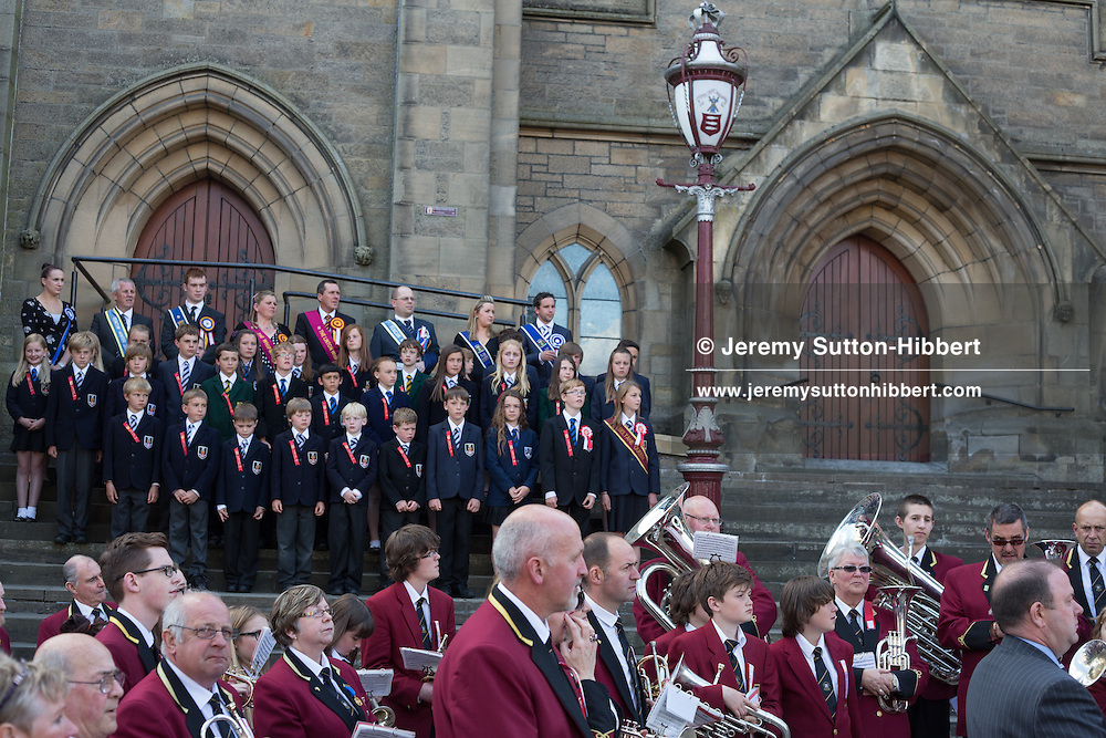 The installation of the Cornet at the Old Parish Church steps, at The Peebles Beltane Festival, including their Common Riding of the Marches, with Cornet Daniel Williamson, and Cornets Elect Lass Susan Thomson, in Peebles, Scotland, Wednesday 19th June 2013. <br /> N55&deg;39.071'<br /> W3&deg;11.542'