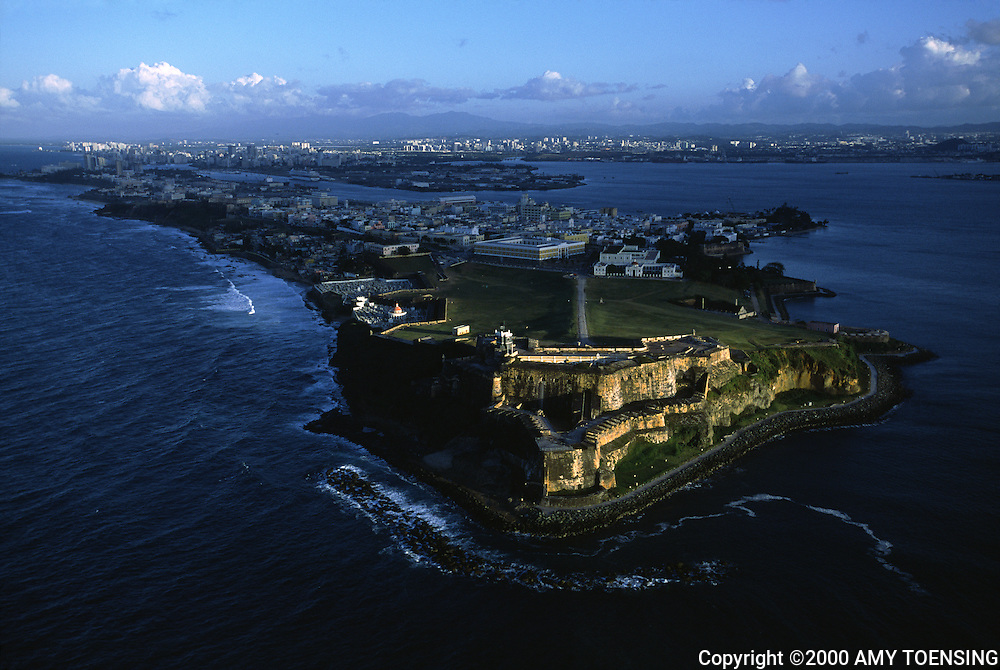 OLD SAN JUAN, PR - FEBRUARY 15: An aerial view of Fort San Felipe del Morro February 15, 2002 in Old San Juan, Puerto Rico. Fort San Felipe del Morro is Puerto Rico's best-known fortress. Spanish troops fortified this 'morro', which means 'promontory', to keep seaborne enemies out of San Juan. Today it is preserved as a world heritage site. Over two million visitors a year explore the windswept ramparts and passageways making the fort one of Puerto Rico's main visitor attractions. Puerto Rico was an outpost of Spanish colonialism for 400 years, until the United States took possession in 1898. Today Puerto Rico's Spanish-speaking culture reflects its history - a mix of African slaves, Spanish settlers, and Taino Indians. Puerto Ricans fight in the U.S. armed forces but are not entitled to vote in presidential elections. They passionately debate their relationship with the U.S. with about half the island wanting to become the 51st state and the other half wanting to remain a U.S. commonwealth. A small percentage feel the island should be an independent country. While locals grapple with the evils of a burgeoning drug trade and unchecked development, drumbeats still drive the rhythms of African-inspired bomba music. (Photo By Amy Toensing) _________________________________<br />