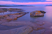 Dawn on Lake Superior shoreline<br />