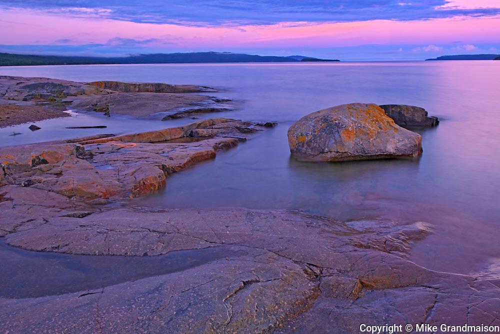 Dawn on Lake Superior shoreline<br />Rossport<br />Ontario<br />Canada