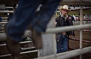 Ward Macza of Northcott Macza Rodeo takes a break during the Falkland Stampede in Falkland, B.C. (2016)