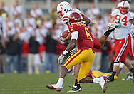 November 06 2010: Nebraska Cornhuskers defensive back Eric Hagg (28) pulls in an interception on a pass intended for Iowa State Cyclones wide receiver Darius Darks (6) during the second half of the NCAA football game between the Nebraska Cornhuskers and the Iowa State Cyclones at Jack Trice Stadium in Ames, Iowa on Saturday November 6, 2010. Nebraska defeated Iowa State 31-30.