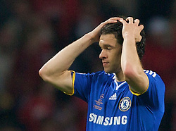 MOSCOW, RUSSIA - Wednesday, May 21, 2008: Chelsea's Michael Ballack looks dejected during the UEFA Champions League Final against Manchester United at the Luzhniki Stadium. (Photo by David Rawcliffe/Propaganda)