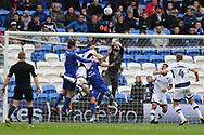 Jordan Archer, the goalkeeper of Millwall makes a save to deny Sean Morrison of Cardiff City  (l). EFL Skybet championship match, Cardiff city v Millwall at the Cardiff city stadium in Cardiff, South Wales on Saturday 28th October 2017.<br /> pic by Andrew Orchard, Andrew Orchard sports photography.