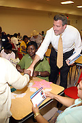 l to r: Una Clarke and Public Advocate Candidate Bill De Blasio campaigns in Brooklyn with Former Council Member Una Clarke at  The St.Gabriels' Episcopal/Angelican Church's Senior Center in the Lefferts Garden section of Brooklyn on July 22, 2009 in Brooklyn, New York