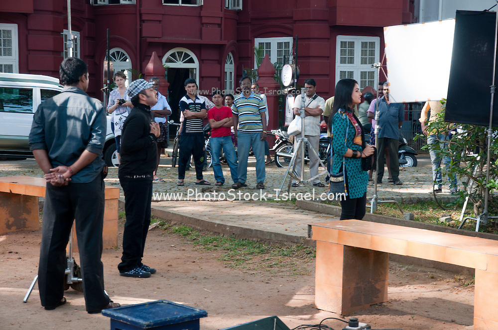 India, Kerala, Kochi (formerly known as Cochin) Film crew films an Indian film in the street