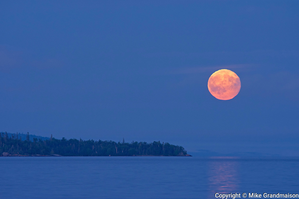 Moon over Lake Superior <br />