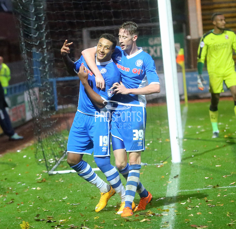 Nathaniel Mendez-Laing hat trick during the The FA Cup match between Rochdale and Swindon Town at Spotland, Rochdale, England on 7 November 2015. Photo by Daniel Youngs.