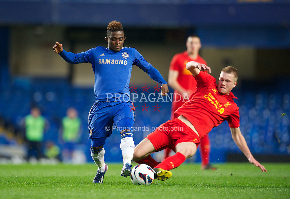 LONDON, ENGLAND - Friday, April 19, 2013: Liverpool's Dan Cleary in action against Chelsea's Islam Feruz during the FA Youth Cup Semi-Final 2nd Leg match at Stamford Bridge. (Pic by David Rawcliffe/Propaganda)