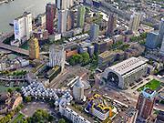 Nederland, Zuid-Holland, Rotterdam, 14-09-2019; Stadsgezicht Rotterdam, Stadsdriehoek met Markthal, station Blaak, Centrale Bibliotheek, Kubus woningen. Kruising Binnenrotte, Hoogstraat.<br /> Cityscape Rotterdam, City triangle with Sint Laurenskerk, Markthal, Blaak station, Binnenrotte. luchtfoto (toeslag op standard tarieven);<br /> aerial photo (additional fee required);<br /> copyright foto/photo Siebe Swart