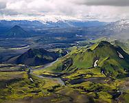 """Stóra-Grænafjall við Fjallabaksleið syðri. Eyjafjallajökull í baksýni.Séð til suðvesturs.Stora-Graenafjall mountain on the mountainropute Fjallabaksleid Sydri.Emstrur near the """"Fjallabaksleid sydri"""""""