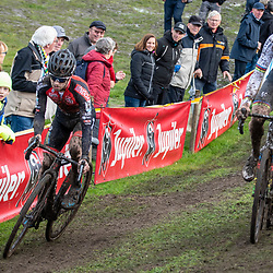 2019-11-03: Cycling: Superprestige: Ruddervoorde: Eli Iserbyt and Mathieu van der Poel batteling in the beginning of the race