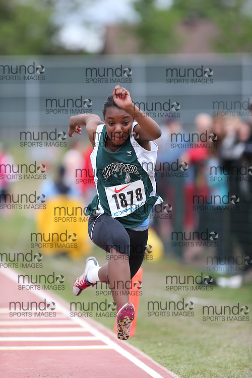 Cassi-Ann Hutchinson of St Joseph's Morrow Park - Toro competes in the midget girls triple jump at the 2013 OFSAA Track and Field Championship in Oshawa Ontario, Thursday,  June 6, 2013.<br /> Mundo Sport Images / Sean Burges