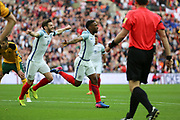 Jermain Defoe of England celebrating after scoring goal to make it 1-0 during the FIFA World Cup Qualifier group stage match between England and Lithuania at Wembley Stadium, London, England on 26 March 2017. Photo by Matthew Redman.