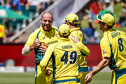 John Hastings of Australia celebrates a wicket with Team mates during the 2nd ODI match between South Africa and Australia held at The Wanderers Stadium in Johannesburg, Gauteng, South Africa on the 2nd October  2016<br /> <br /> Photo by Dominic Barnardt/ RealTime Images