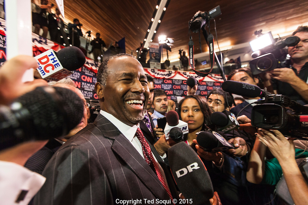 Presidential republican candidate Ben Carson.<br /> Spin room activity after the republican presidential debates at the Ronald Reagan Presidential Library.