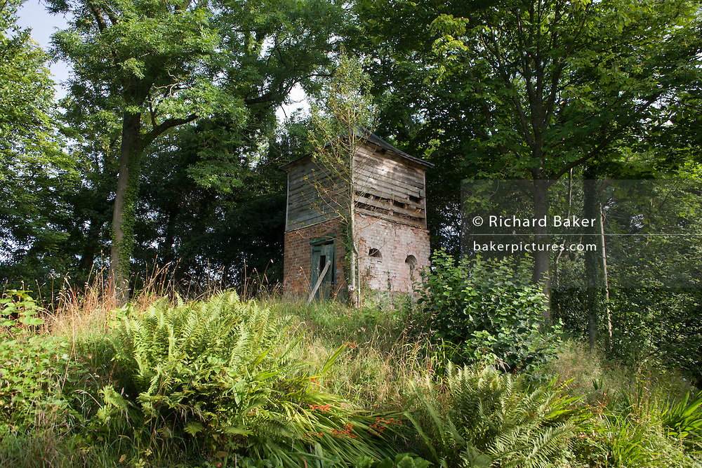 A Victorian water tower scructure provides a habitat for wildlife in a Herefordshire wooded garden.