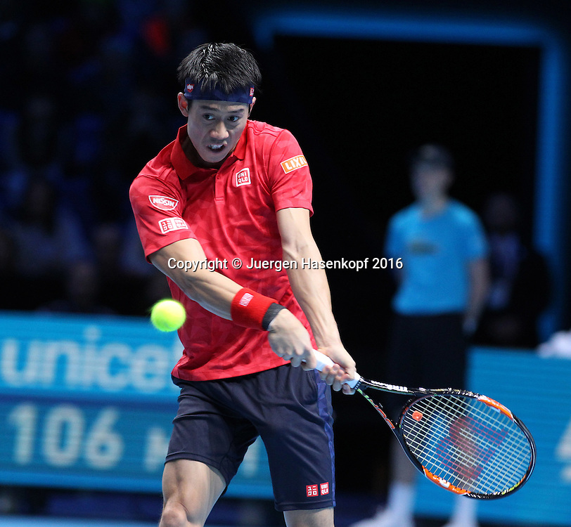 KEI NISHIKORI (JPN), ATP World Tour Finals, O2 Arena, London, England.<br /> <br /> Tennis - ATP World Tour Finals 2016 - ATP -  O2 Arena - London -  - Great Britain  - 19 November 2016. <br /> &copy; Juergen Hasenkopf/Grieves