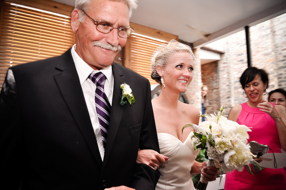 Kelly's dad walks her down the isle at A New Leaf in Chicago, IL