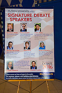 Hempstead, New York, USA. September 13, 2016. Poster is on display in lobby for events with Signature Debate Speakers: Michael E Mann; David Axelrod; Bobby Jindal; Michael Eric Dyson; Sally Kohn; Ellen Fitzpatrick; Eugene Robinson; and Stephen F. Hayes, at Hofstra University, which will host the first Presidential Debate, between H.R. Clinton and D. J. Trump, scheduled for later that month on September 26. Hofstra is first university ever selected for 3 consecutive U.S. presidential debates.