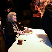 Author Anne Rice during a backstage book signing after speaking at a Writers on a New England Stage show at The Music Hall in Portsmouth, NH