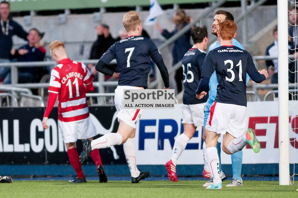 Falkirk hosted Hamilton Academicals in the first leg of the SPFL play off semi final at Falkirk Community Stadium. No 7, Mark Beck heads towards the home support after scoring the equaliser for Falkirk. Tuesday, 13th May, 2014. (c) Wullie Marr | SportPix.org.uk