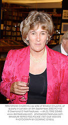 MRS MINNIE CHURCHILL ex wife of Winston Churchill, at a party in London on 5th September 2002.	PCY 53