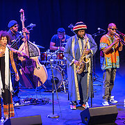 WASHINGTON, DC - August 26, 2015 - Patrice Quinn, Miles Mosely, Ronald Bruner, and Kamasi Washington  and Ryan Porter perform at the Howard Theatre in Washington, D.C. After working with artists such as Kendrick Lamar and Flying Lotus, Washington is touring behind his debut studio album, The Epic.  (Photo by Kyle Gustafson / For The Washington Post)