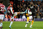 Aston Villa midfielder Douglas Luiz (6) battles for possession  with Wolverhampton Wanderers forward Benny Ashley-Seal (56) during the EFL Cup match between Aston Villa and Wolverhampton Wanderers at Villa Park, Birmingham, England on 30 October 2019.