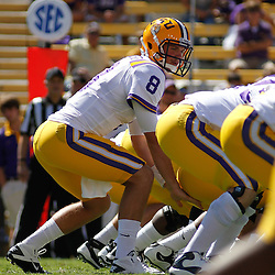 October 1, 2011; Baton Rouge, LA, USA;  LSU Tigers quarterback Zach Mettenberger (8) under center during the fourth quarter against the Kentucky Wildcats at Tiger Stadium. LSU defeated Kentucky 35-7. Mandatory Credit: Derick E. Hingle-US PRESSWIRE / © Derick E. Hingle 2011