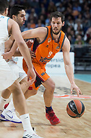Real Madrid Facundo Campazzo and Valencia Basket Sam Van Rosso during Turkish Airlines Euroleague match between Real Madrid and Valencia Basket at Wizink Center in Madrid, Spain. December 19, 2017. (ALTERPHOTOS/Borja B.Hojas)